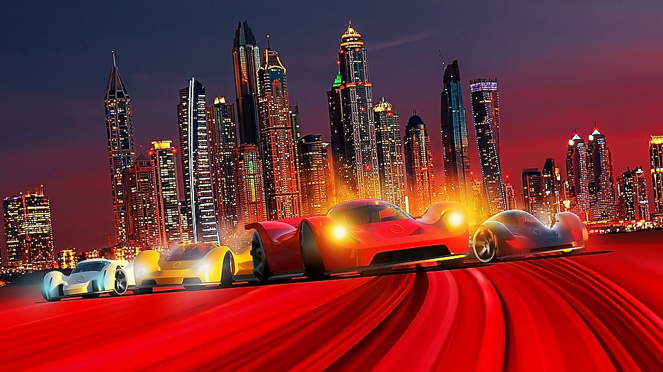 The saltwater supercars situated in a city